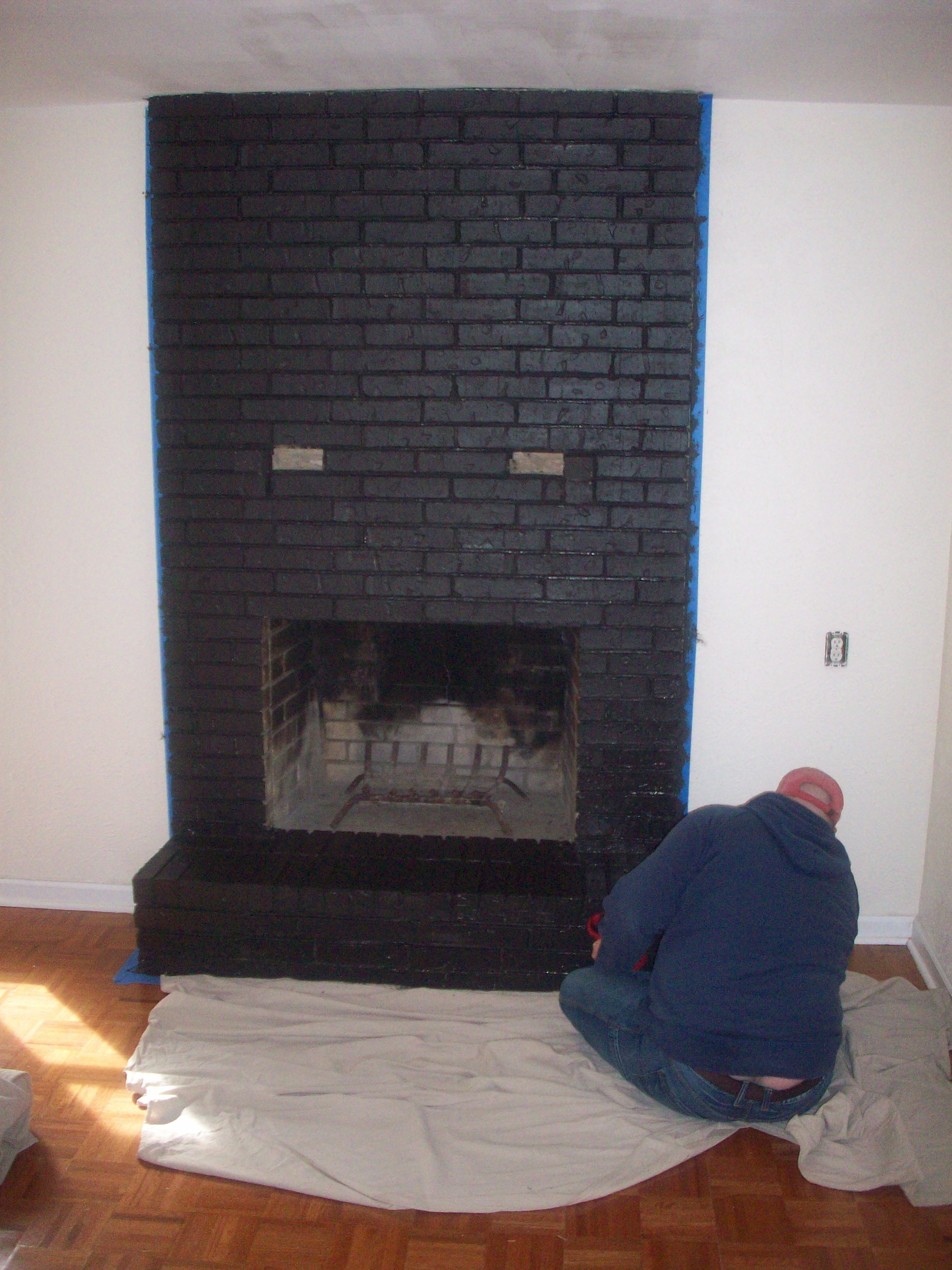 A lot of people have been asking about our brick fireplace lately. No