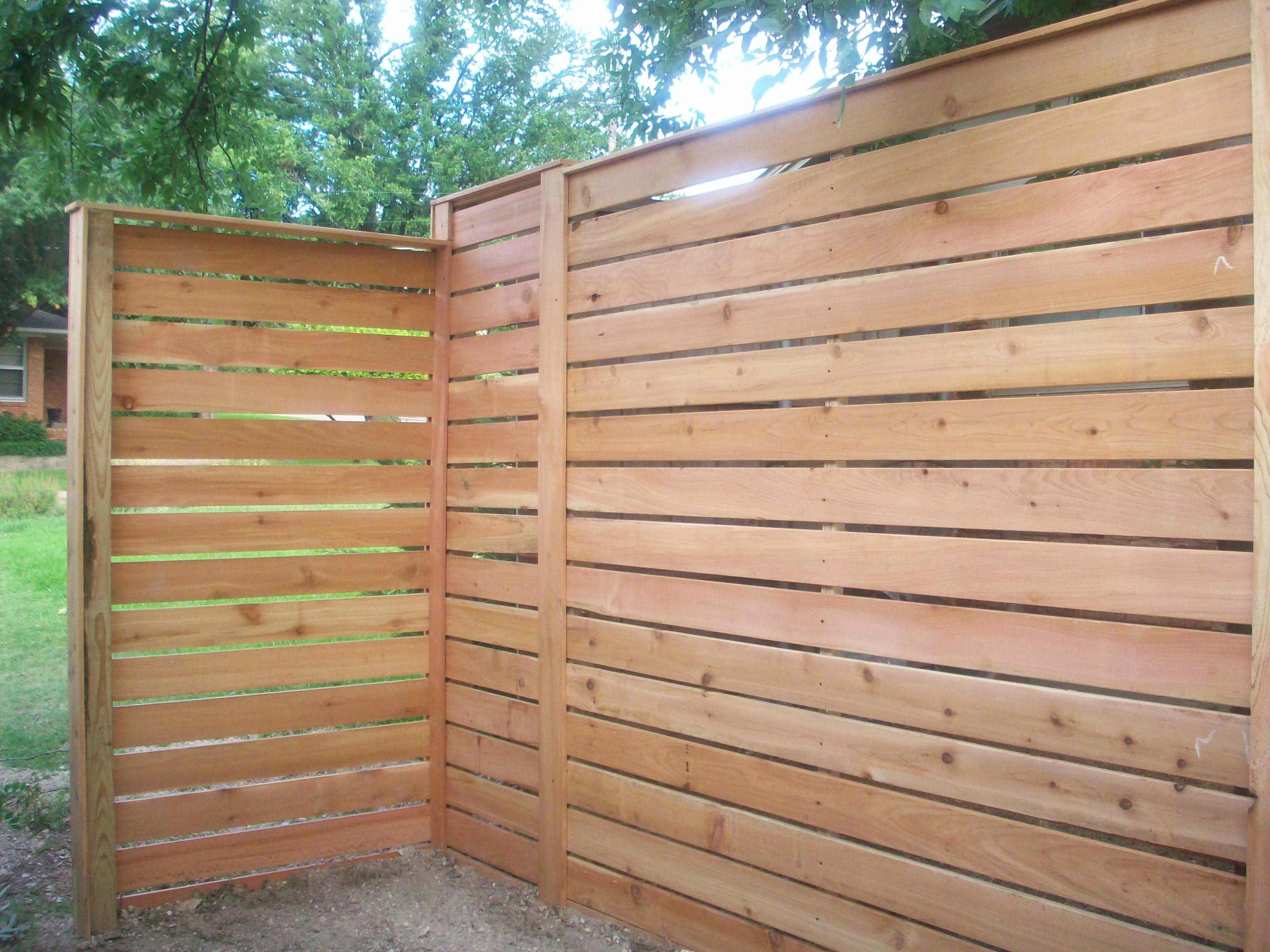 Front Corner Of New Horizontal Fence