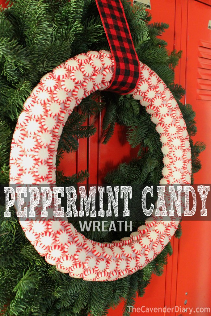 Peppermint Candy Wreath on Green Pine Wreath from the CavenderDiary Boys
