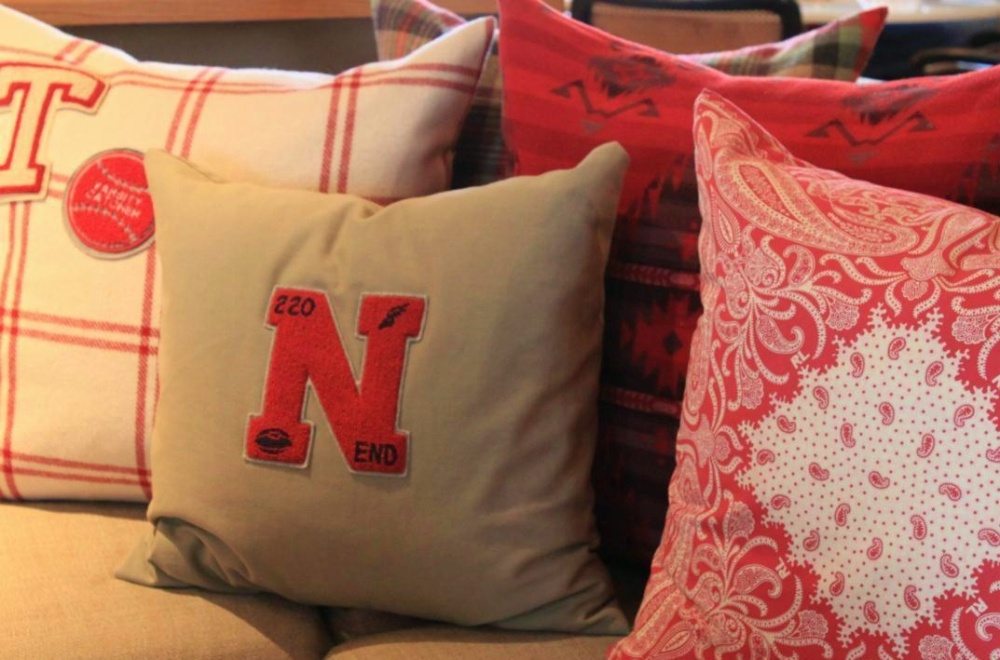 Pillows on the Sofa with Letterman's Patches in the Cavender Den