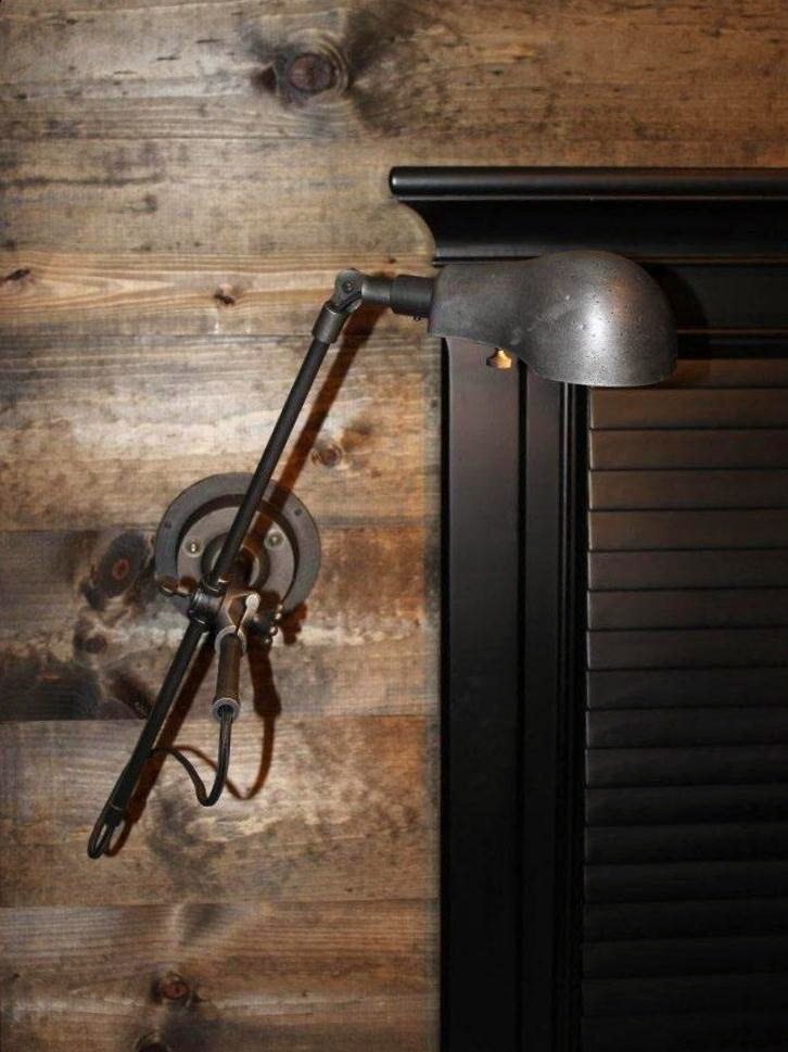 Restoration Hardware Pharmacy Sconce on the New Wood Wall