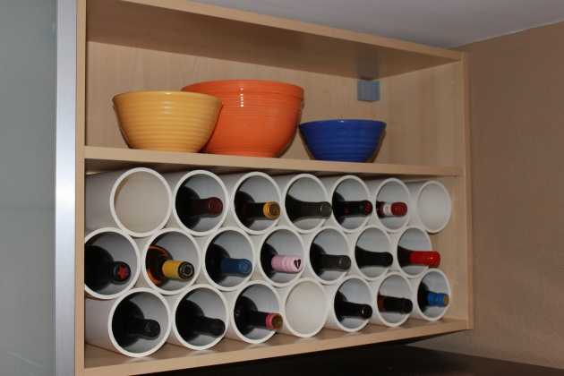 diy pipe and wood wine rack rachael edwards. Black Bedroom Furniture Sets. Home Design Ideas