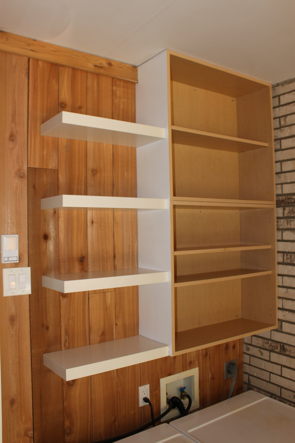 Hacking ikea lack shelves the cavender diary for Caulking around kitchen cabinets