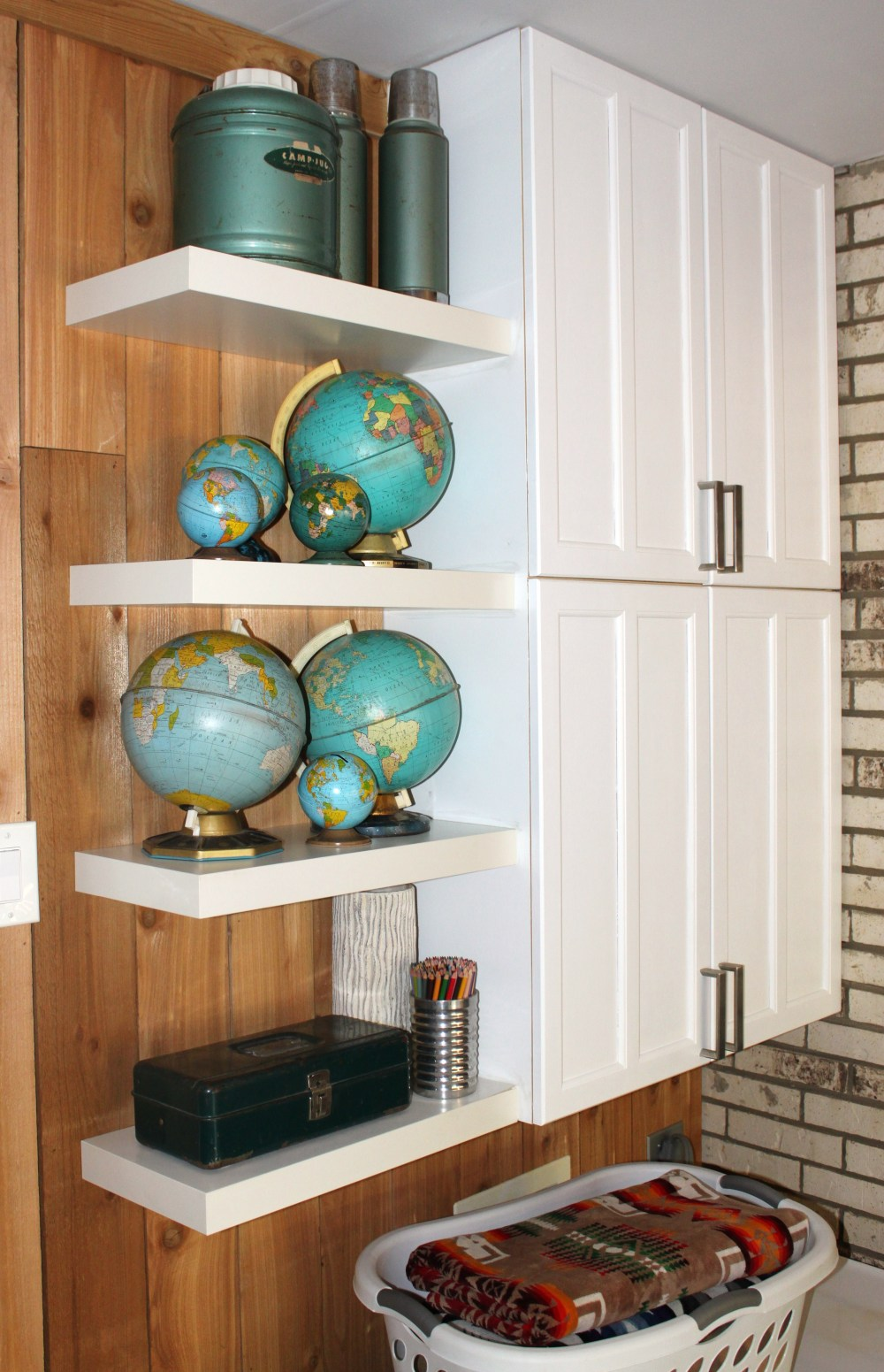 Finished Cabinets with Shelves and Globe Collection