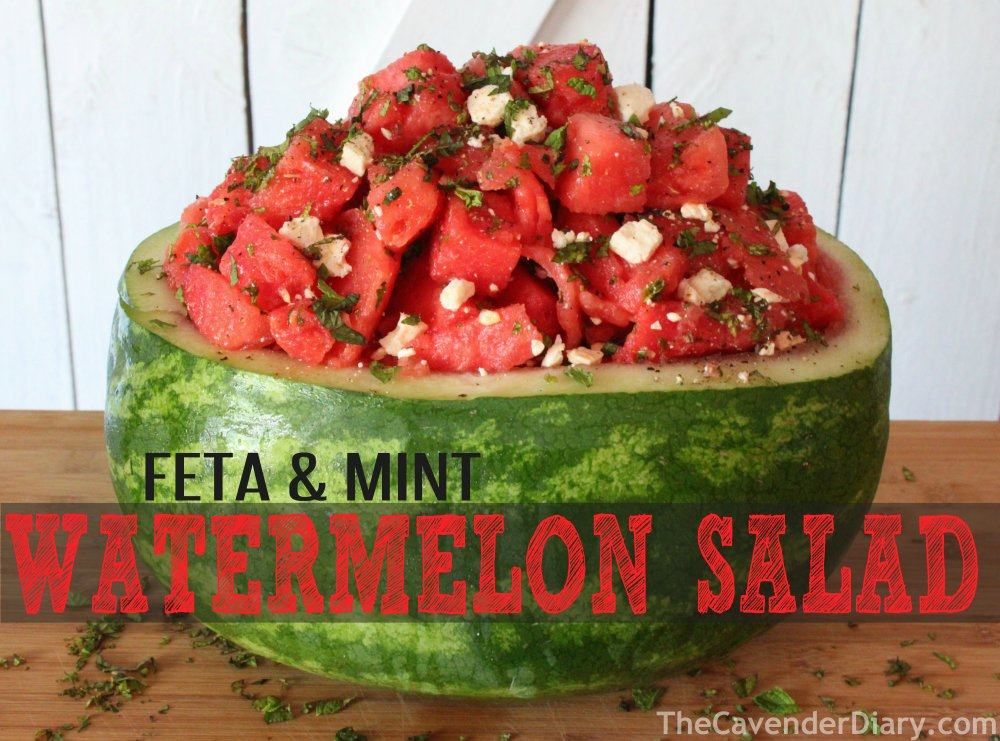 Watermelon Mint & Feta Salad in a Melon Bowl from the Cavender Diary Boys