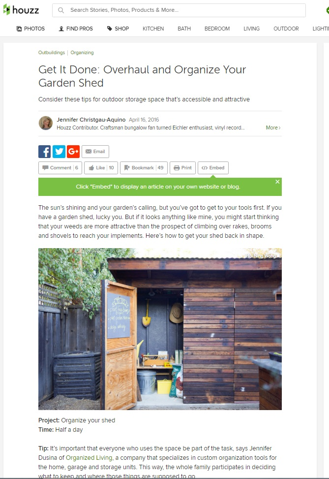 Houzz Feature on Organizing Tool Shed