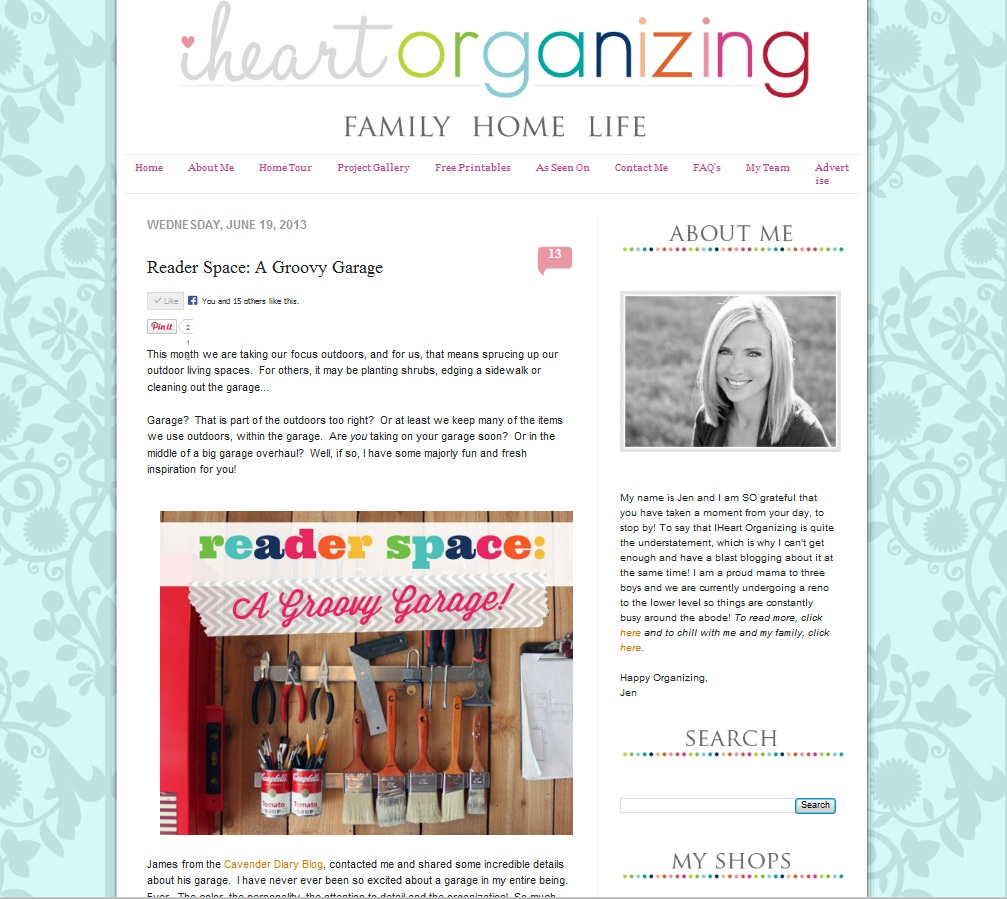 Our groovy organized garage the cavender diary for I heart organizing