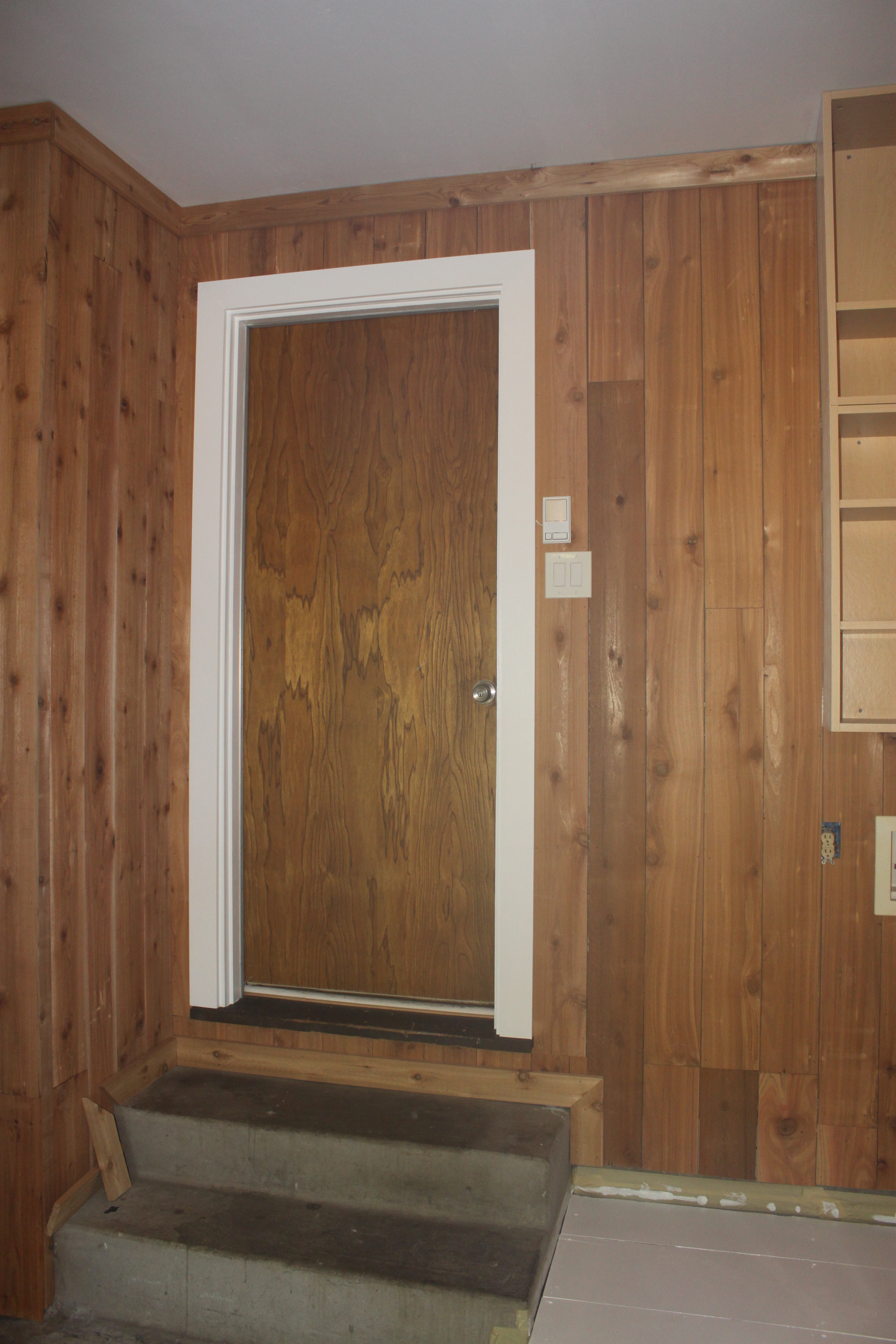 Chalk board door the cavender diary for Wood trim around doors