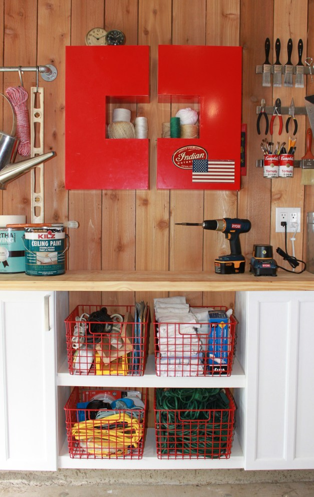 Red C Cabinets with Custom Open Shelves