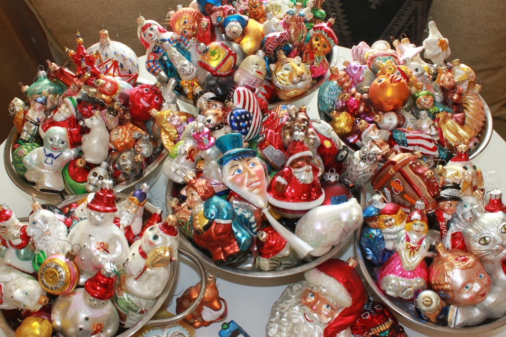 Bowls of Ornaments for the Christmas Tree