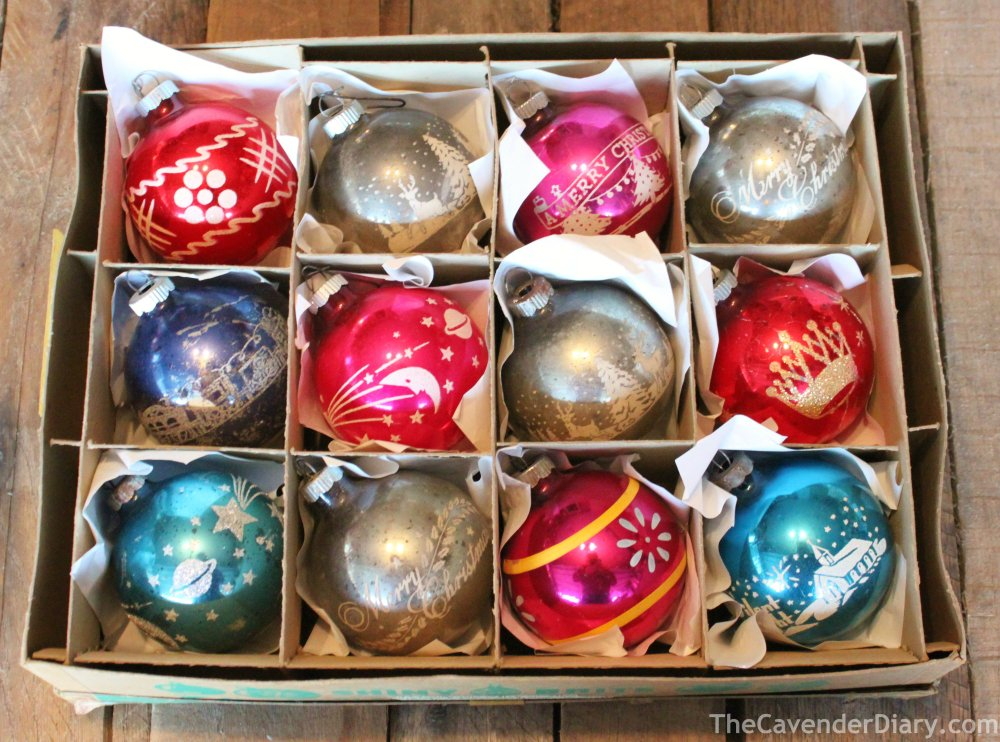 Box od Stenciled Vintage Shiny Brite Ornaments