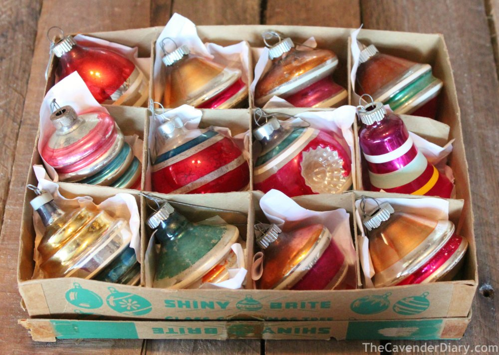 Box of Vintage Molded Shiny Brite Ornaments
