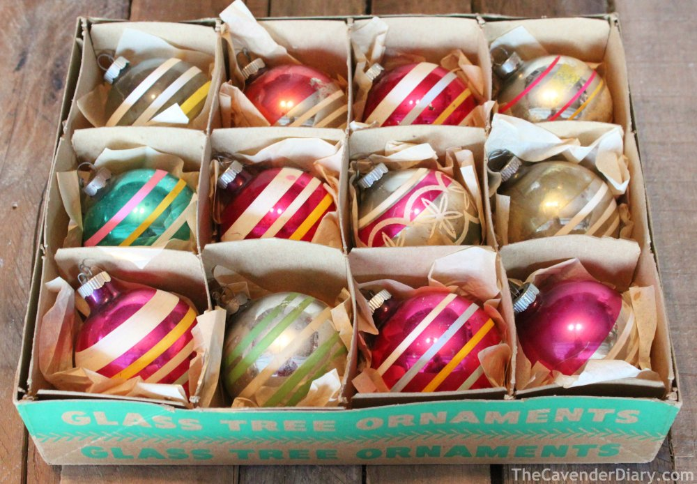 Box of Vintage Striped Shiny Brite Ornaments