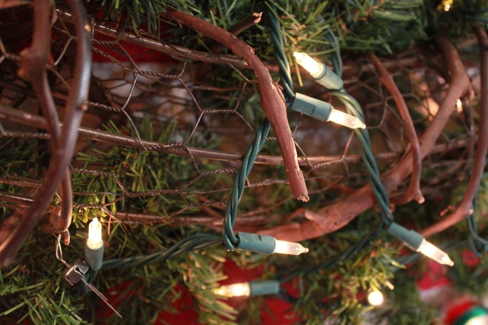 Close-Up of Chicken Wire Wreath