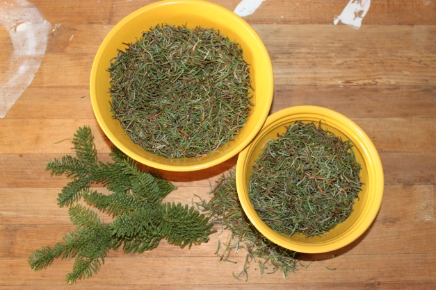 Bowls of Leftover Pine Needles for Sachets