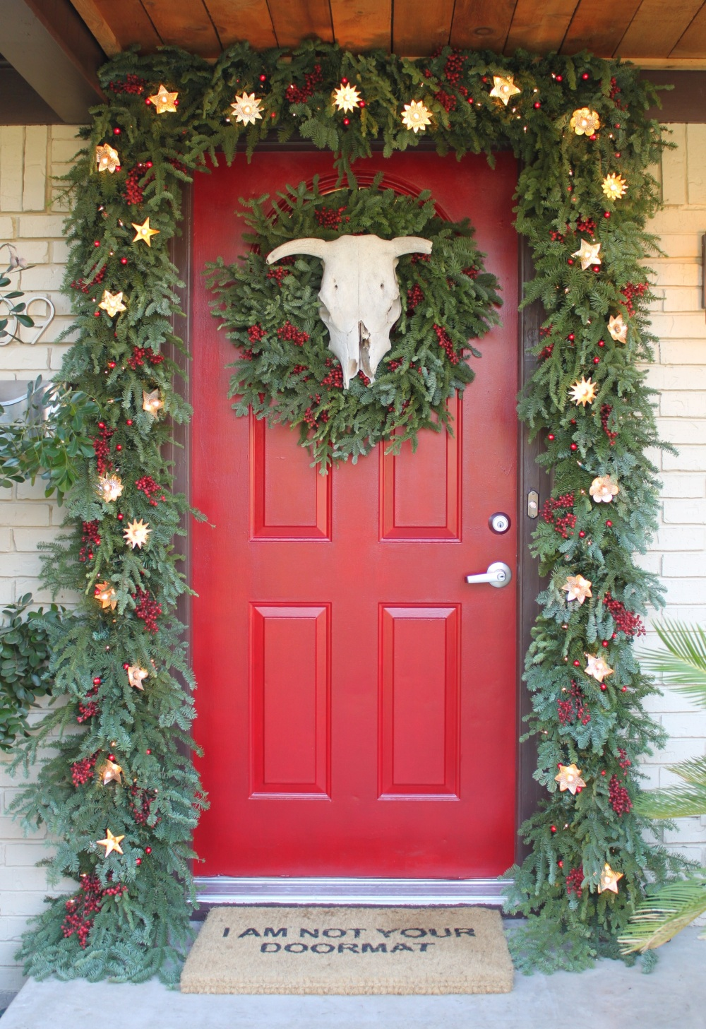 Front Door with Thick Awesome Garland