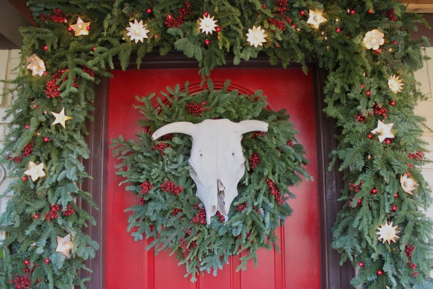 Cow Skull on Wreath on Front Door