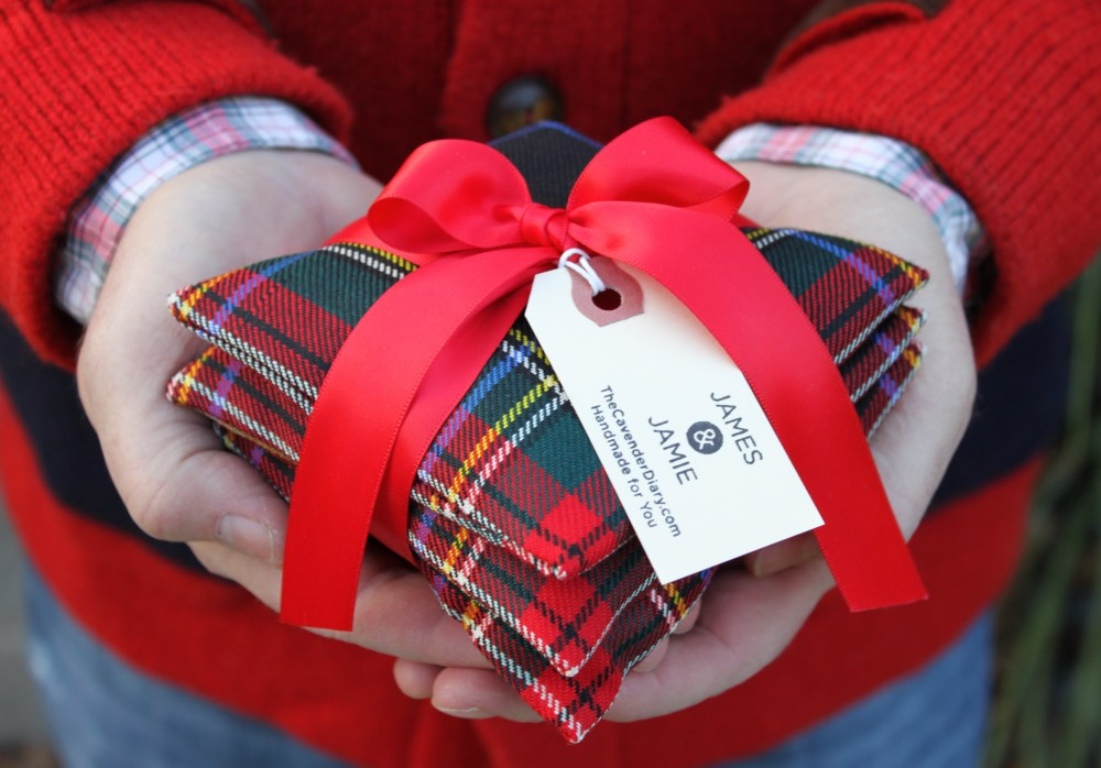 Finished Pine Needle Sachet ready for Giving (made from tartan fabric scraps)