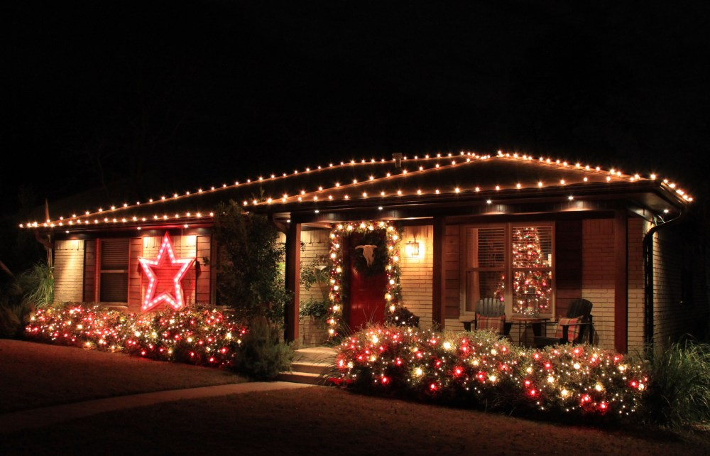 Cavender House Completely Lit for Christmas