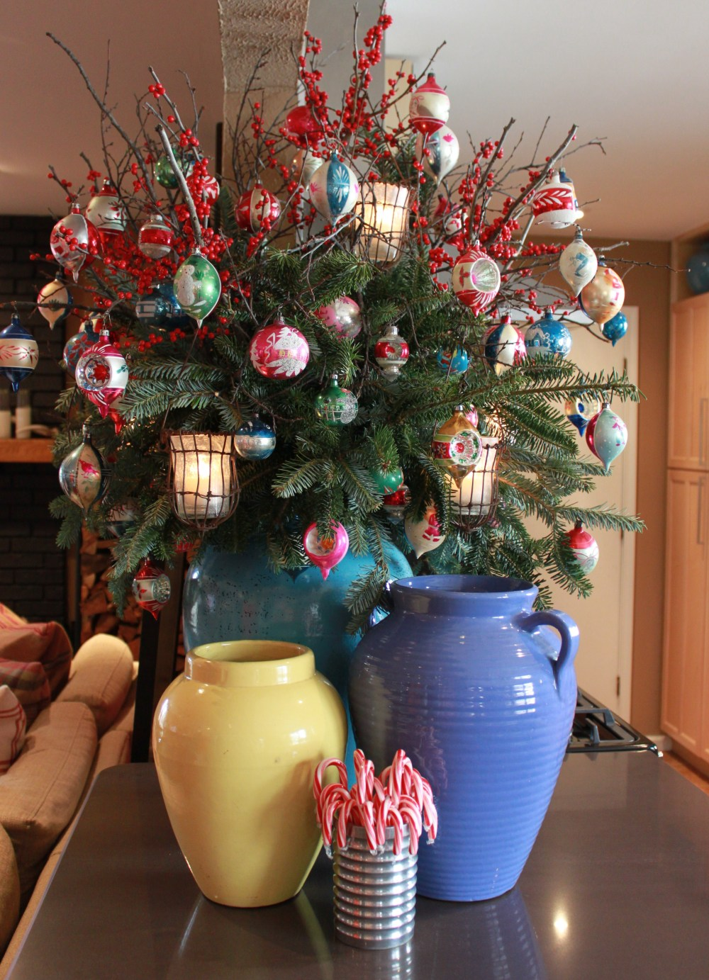 Oil Jar full of Branches, Vintage Ornaments, and Votives