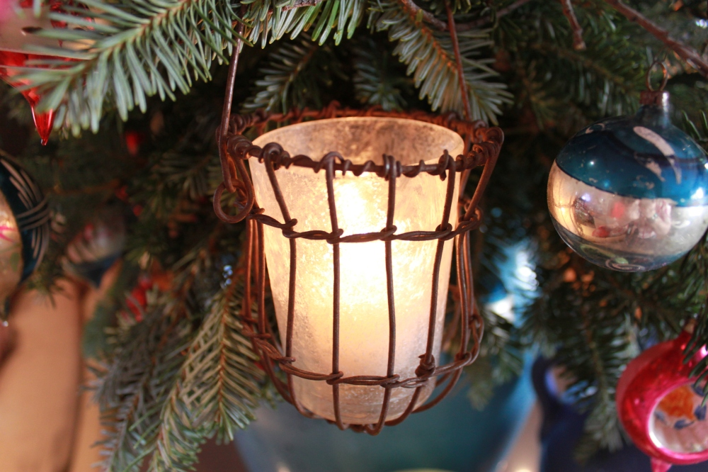 Small Hanging Votive with Crystal Frost