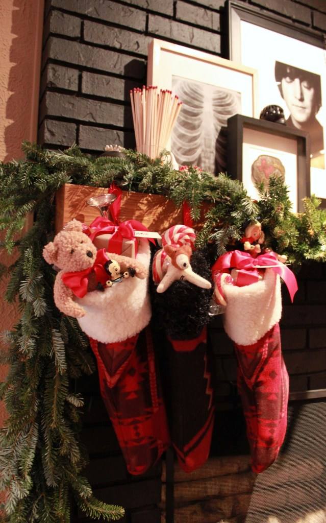 Christmas Stockings on the Den Mantle