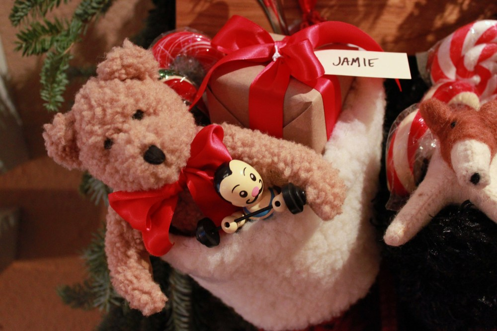 Close up of Jamies Stocking with Teddy Bear