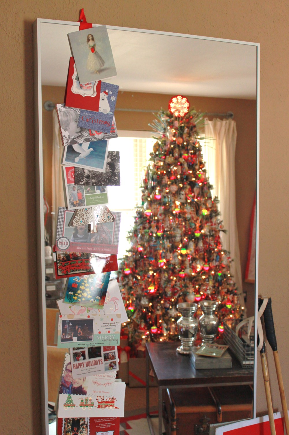 Christmas Cards Down Mirror in Living Room