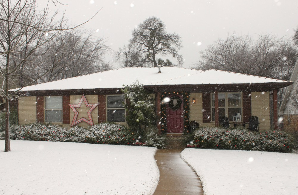 Snow Coming Down on the Cavender House