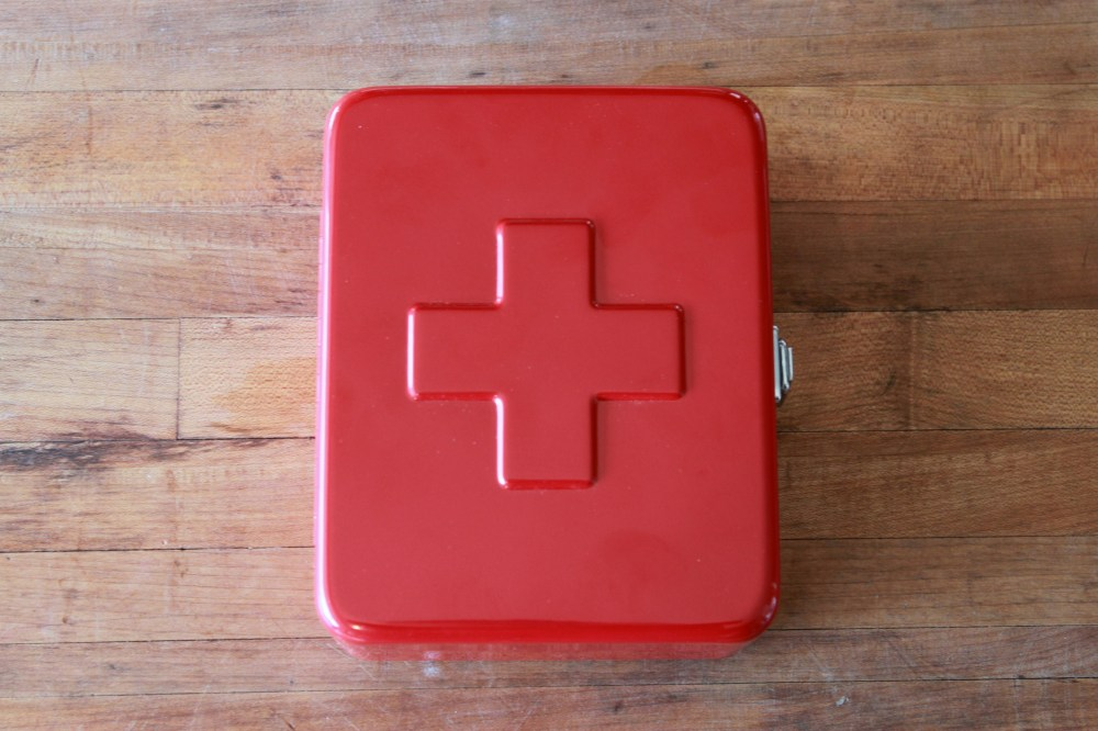 Red Metal First Aid Box