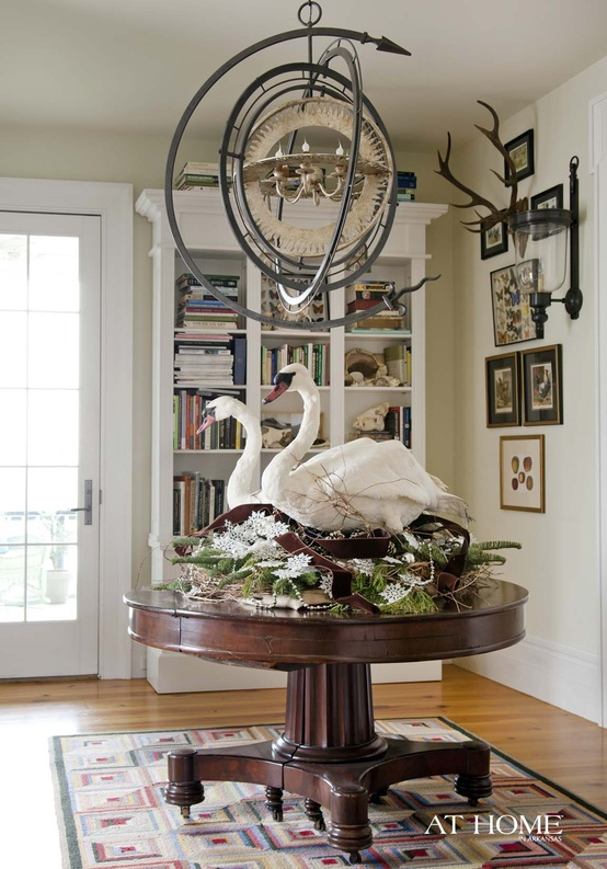 Pair of Swans on Parlor Table
