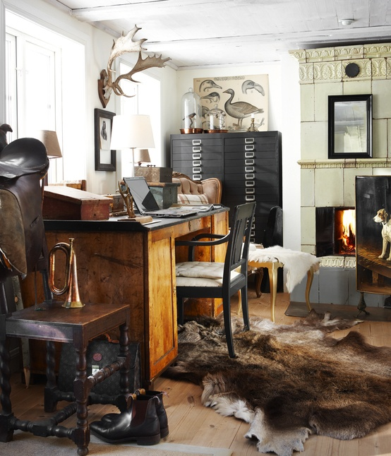 Very Cool Office with Fur on Floor
