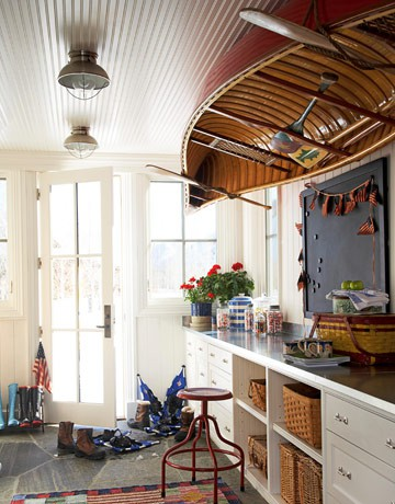 Muddroom with Rowboat on the Ceiling over Worktable