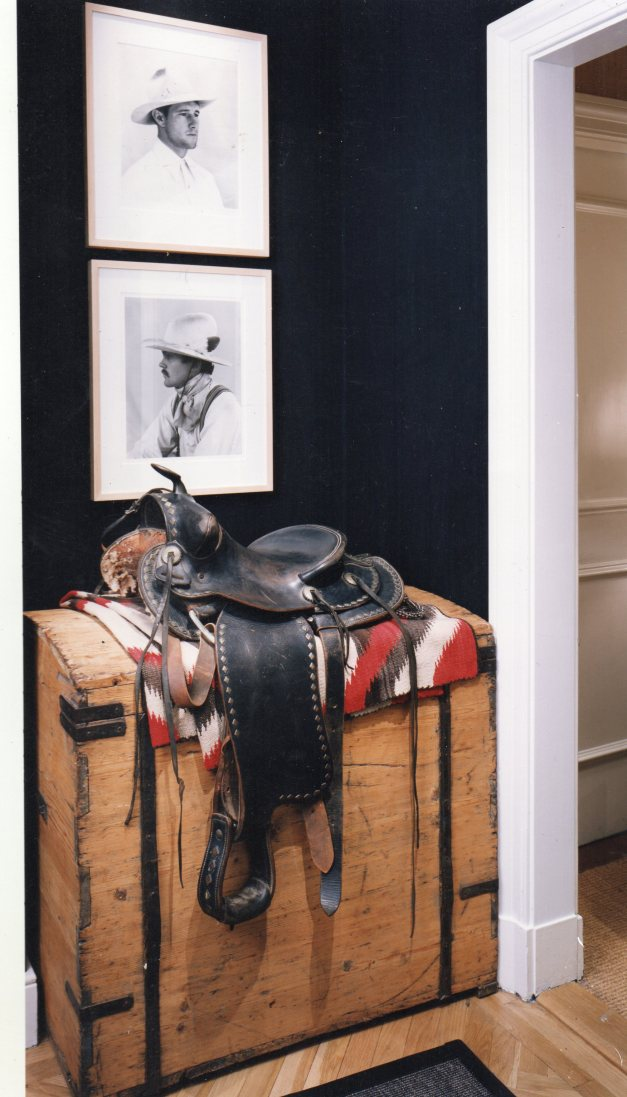Black Painted Hallway with Cowboys