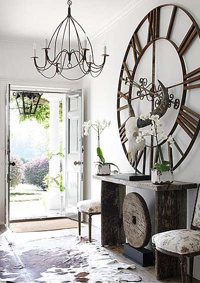 Huge Clock in Entryway over Console