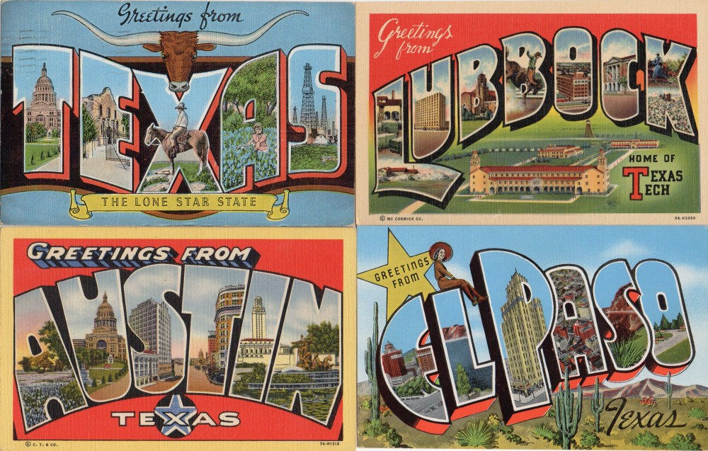 Vintage Linen Texas Postcards