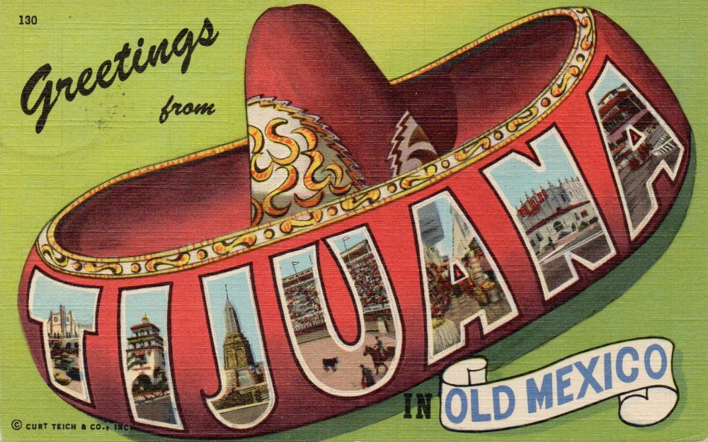 Vintage Linen Tijuana Postcard