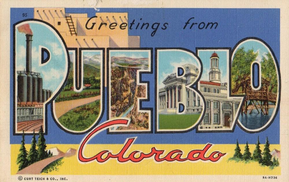 Pueblo Colorado Vinatge Linen Postcard