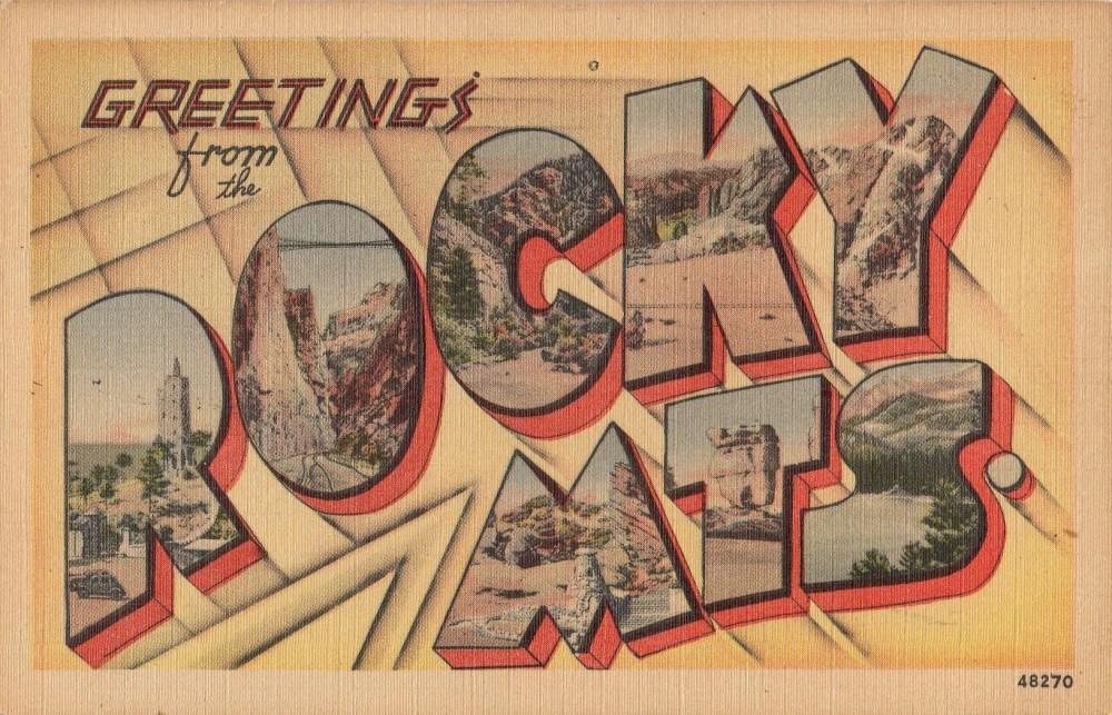 Rocky MTS Vintage Linen Postcard
