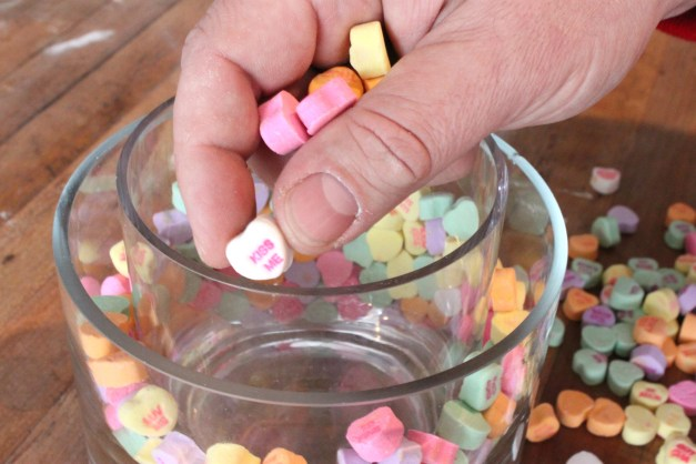 Fill the Space Between 2 Vases with Conversation Hearts