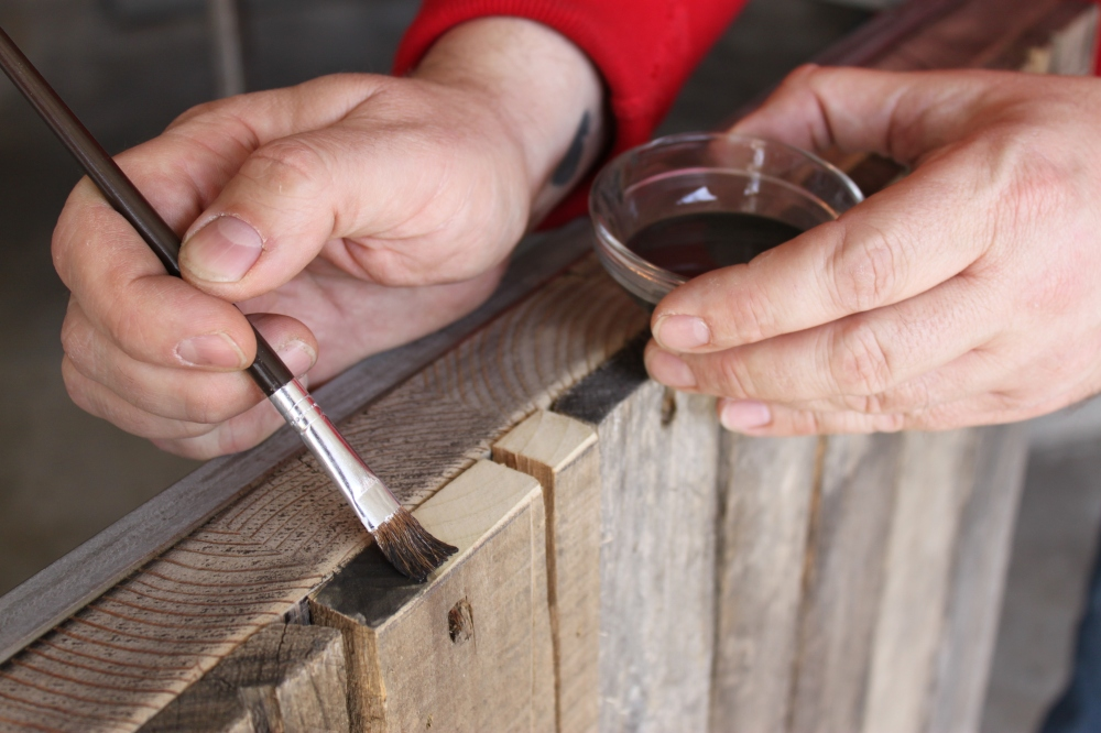 Aging the Freshly Cut Wood with Acrylic Craft Paint