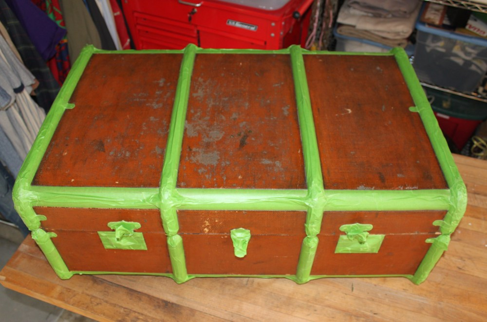 Vintage Steamer Trunk Taped with Frog Tape