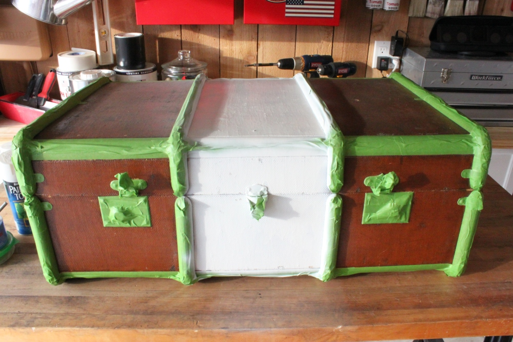 Vintage Trunk with Painted White Center Section