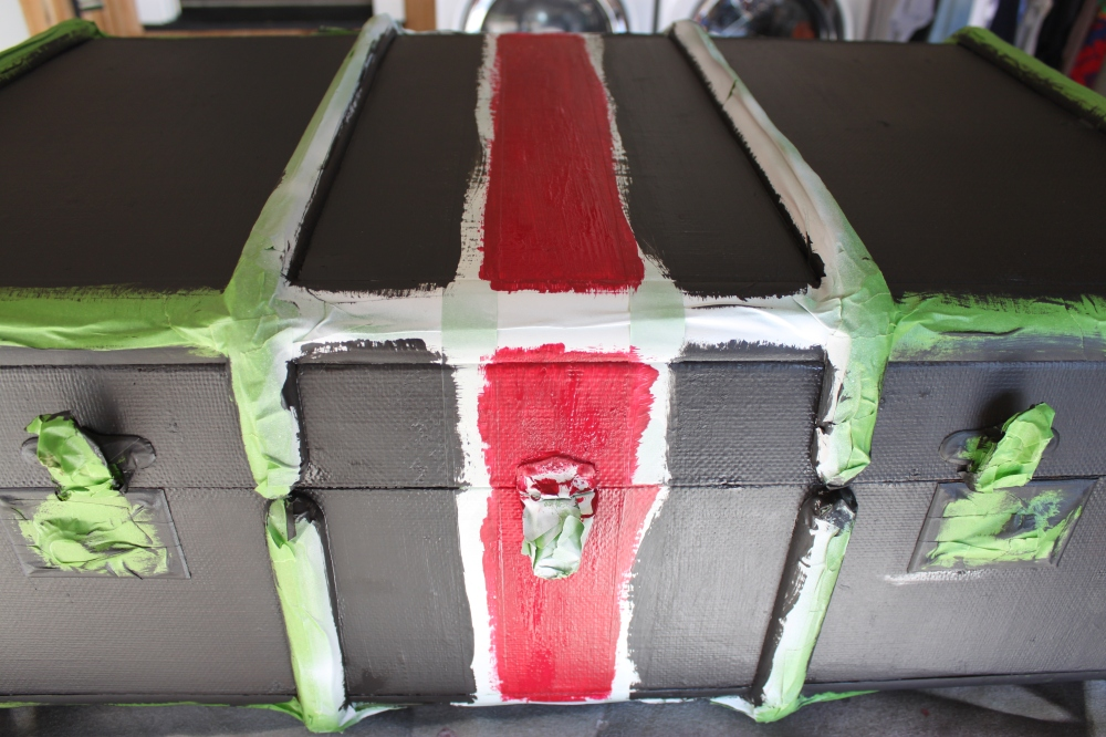 Old trunk Painted Black and Red over Tape
