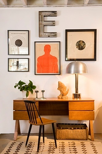Targets as Art Over Mid-Century Desk