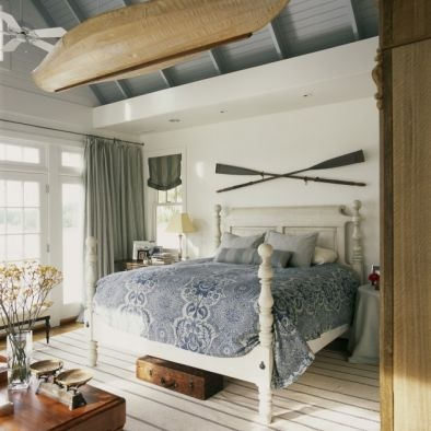 Row Boat on Blue 7 White Bedroom Ceiling