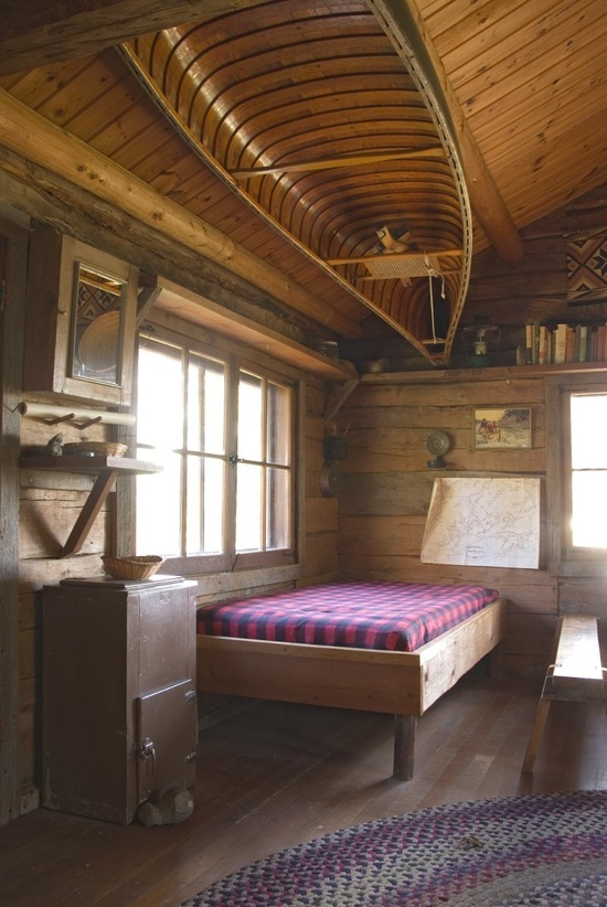 Canoe on the Ceiling of a Cabin