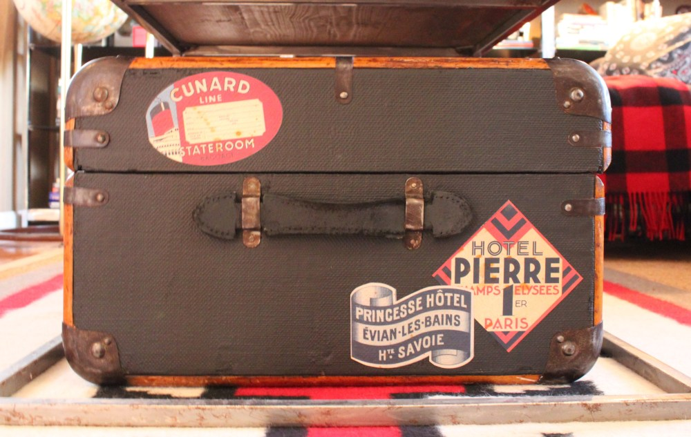 Black Painted trunk Side with Travel Stickers