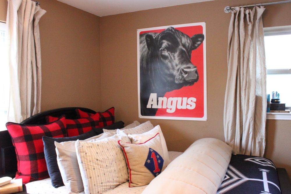 Angus Poster Hovering over the Guest Room Bed