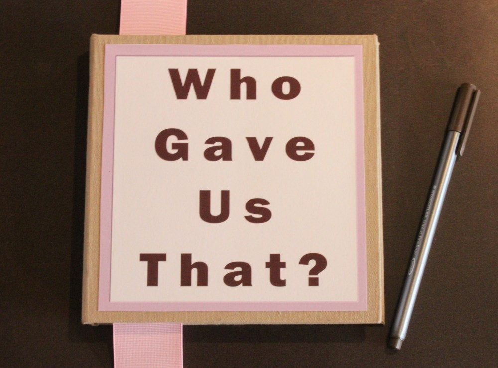 """Who Gave Us That"" Book for a Baby Shower"